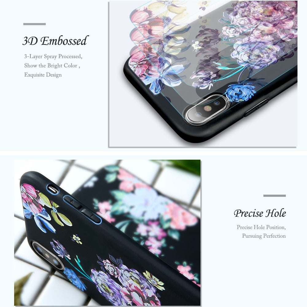 3D Relief Flower Phone Case For iPhone-Online Best Deals-Online Best Deals