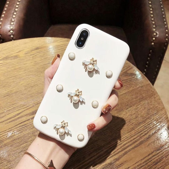 Luxury Bee Diamond Glitter 3D Phone Case For iphone-Online Best Deals-3WHITE093-for iphone 6plus-Online Best Deals