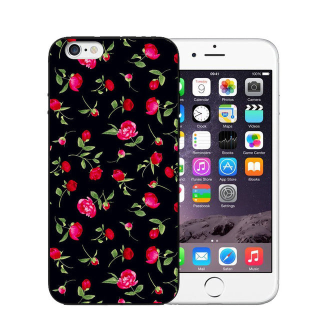 Vintage Flower Soft Silicone Phone Case For iPhone-Online Best Deals-T0460-For iPhone X-Online Best Deals