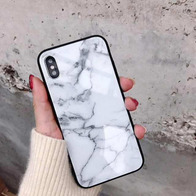 Marble Tempered Glass Phone Case For Apple iPhone-Online Best Deals-White-For iphone X-Online Best Deals