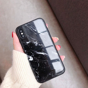 Marble Tempered Glass Phone Case For Apple iPhone-Online Best Deals-Black-For iphone X-Online Best Deals