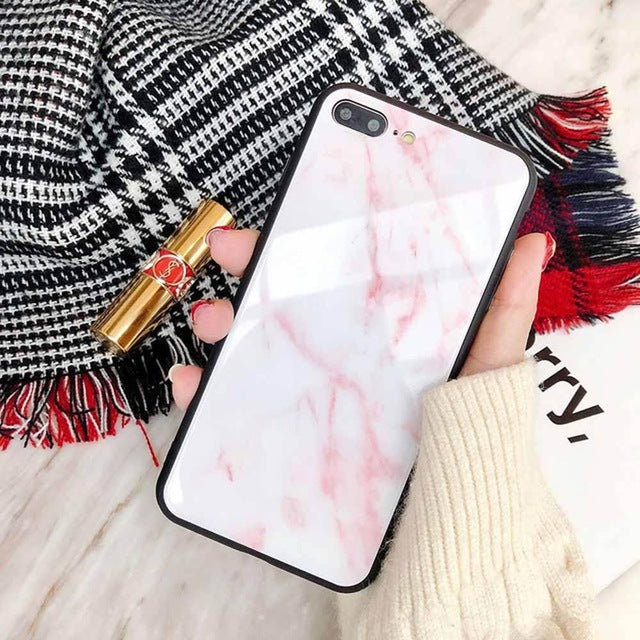 Marble Tempered Glass Phone Case For Apple iPhone-Online Best Deals-Pink-For iphone X-Online Best Deals