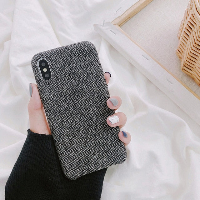 Cloth Texture Soft TPU Phone Case For iphone-Online Best Deals-IK51-FeiNBlack-For iphone X-Online Best Deals