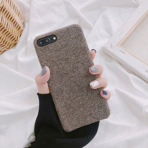 Cloth Texture Soft TPU Phone Case For iphone-Online Best Deals-IK51-FeiNBrown-For iphone X-Online Best Deals