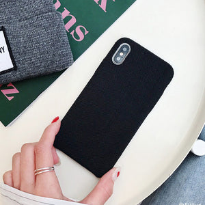 Cloth Texture Soft TPU Phone Case For iphone-Online Best Deals-IK51-MaBBlack-For iphone X-Online Best Deals