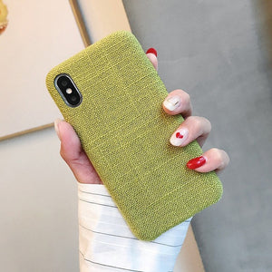 Cloth Texture Soft TPU Phone Case For iphone-Online Best Deals-IK51-MaBGreen-For iphone X-Online Best Deals