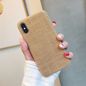 Cloth Texture Soft TPU Phone Case For iphone-Online Best Deals-IK51-MaBKhaki-For iphone X-Online Best Deals