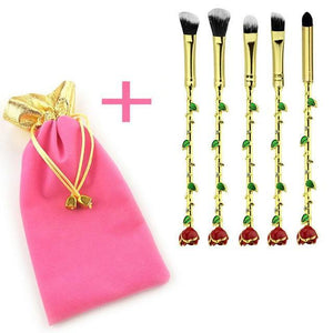 Rose Makeup Brushes - 5Pcs/Set-Health & Wellness-Online Best Deals-gold brush head-Online Best Deals