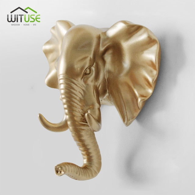 Creative 3D Wall Hangers Decoration Animals Hooks-Online Best Deals-Gold Elephant-Online Best Deals