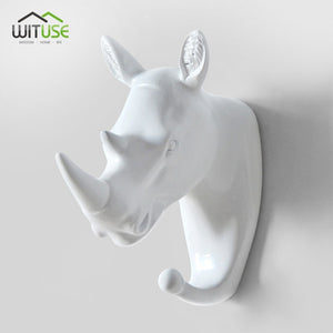Creative 3D Wall Hangers Decoration Animals Hooks-Online Best Deals-White Rhinoceros-Online Best Deals