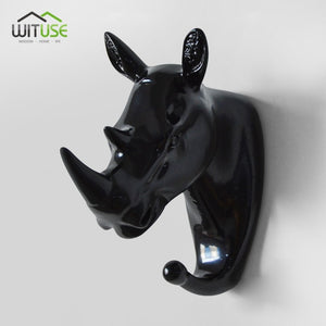 Creative 3D Wall Hangers Decoration Animals Hooks-Online Best Deals-Black Rhinoceros-Online Best Deals