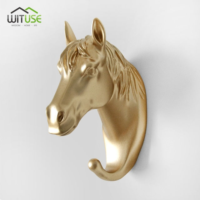 Creative 3D Wall Hangers Decoration Animals Hooks-Online Best Deals-Gold Horse Head-Online Best Deals