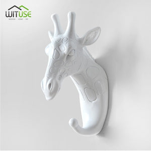 Creative 3D Wall Hangers Decoration Animals Hooks-Online Best Deals-White Giraffe Head-Online Best Deals