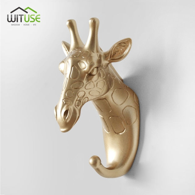 Creative 3D Wall Hangers Decoration Animals Hooks-Online Best Deals-Gold Giraffe Head-Online Best Deals