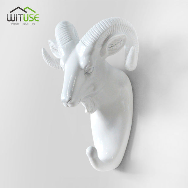 Creative 3D Wall Hangers Decoration Animals Hooks-Online Best Deals-White Goat Head-Online Best Deals