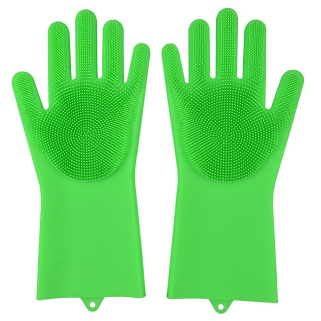 Magic Dishwashing Gloves-Home & Kitchen-Online Best Deals-Grass Green-A Pair-Online Best Deals