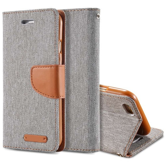 Luxury Leather Wallet Flip Case For iPhone-Online Best Deals-Gray-For iPhone 6 6S-Online Best Deals