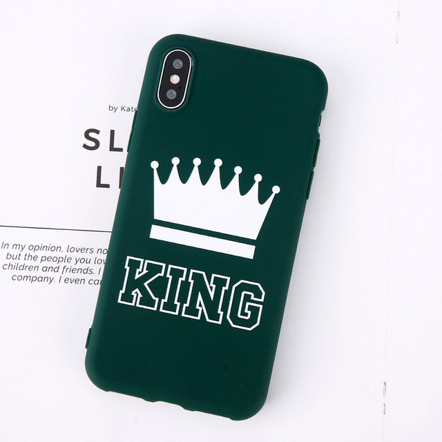 King Queen Crown Phone Case For iphone-Online Best Deals-Green King-For iPhone X-Online Best Deals