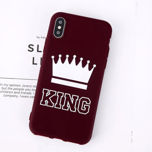 King Queen Crown Phone Case For iphone-Online Best Deals-Wine Red King-For iPhone X-Online Best Deals