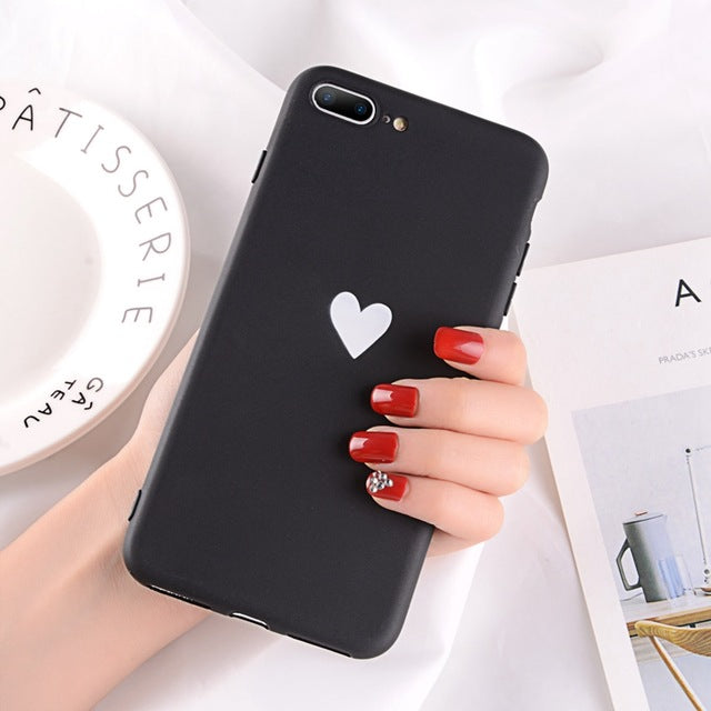 Heart Pattern Phone Cases For Iphone-Online Best Deals-2437 Black-For iPhone X-Online Best Deals