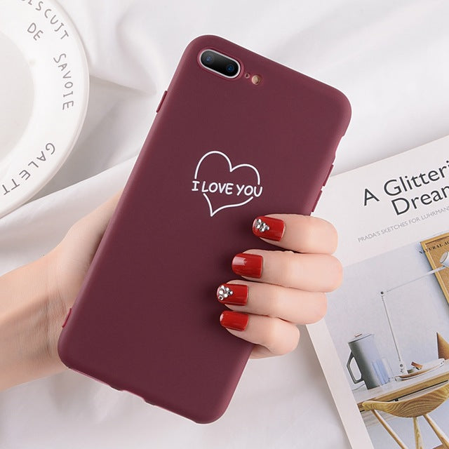 Heart Pattern Phone Cases For Iphone-Online Best Deals-2614 Wine Red-For iPhone X-Online Best Deals