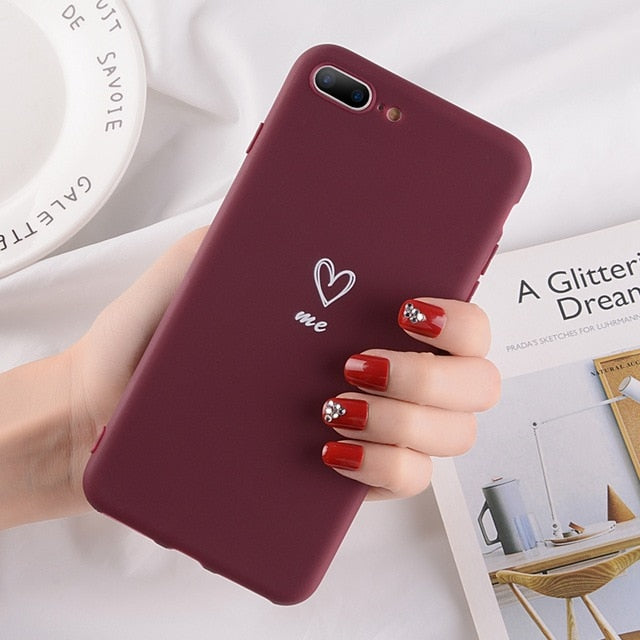 Heart Pattern Phone Cases For Iphone-Online Best Deals-2615 Wine Red-For iPhone X-Online Best Deals