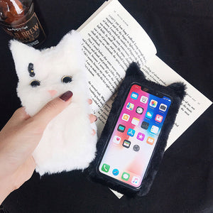 3D Cartoon Cat Furry fluffy Cover Case-Online Best Deals