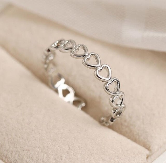 Adjustable Hollowed-out Heart Open Ring-Online Best Deals