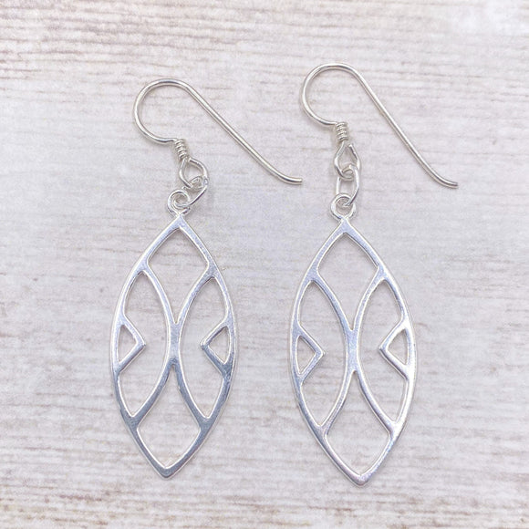 925 Sterling Silver Abstract Geometric Accent Earrings