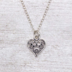 925 Sterling Silver Filigree Heart Necklace