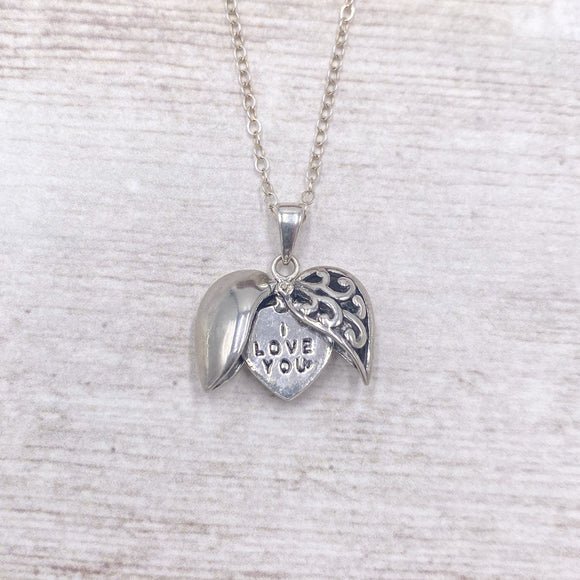 Double Heart I Love You Pendant Necklace in 925 Sterling Silver