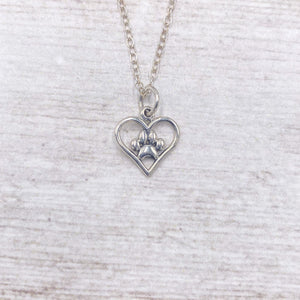 925 Sterling Silver Heart Paw Necklace