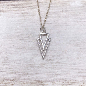 925 Sterling Silver Open Triangle Necklace