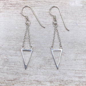 925 Sterling Silver Festoon Link Open Triangle Earrings
