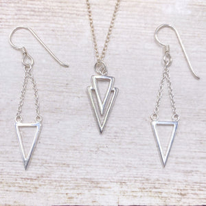 925 Sterling Silver Open Triangle Necklace/Earring Set