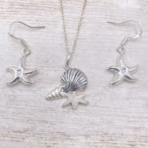 925 Sterling Silver Beach Water Necklace Earring Set