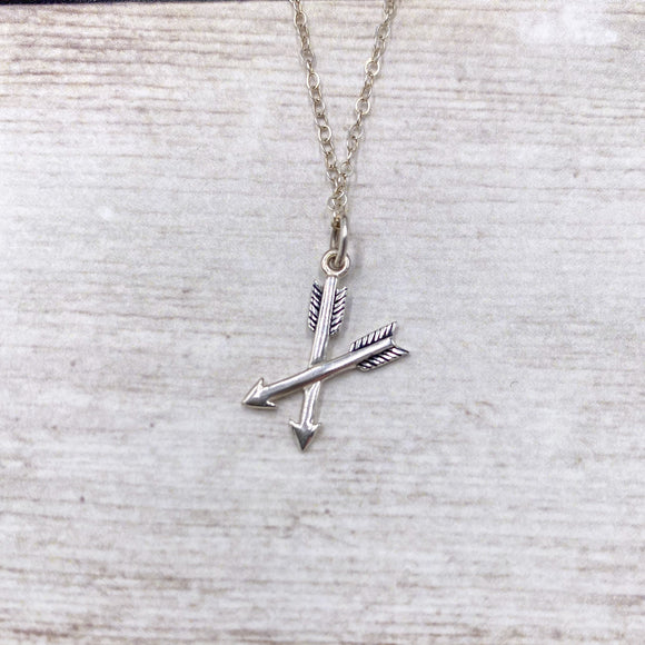 925 Sterling Silver Crossed Arrows Necklace