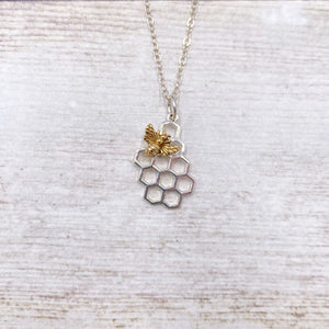 925 Sterling Silver Bee Honey Comb Necklace