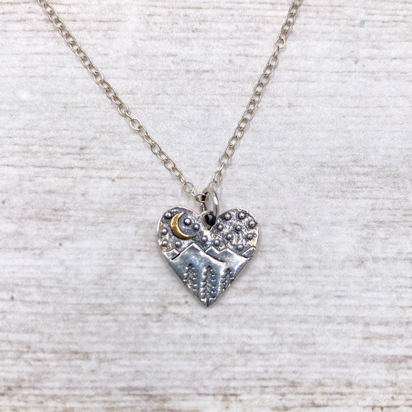 Celestial Mountains Heart Necklace in 925 Sterling Silver