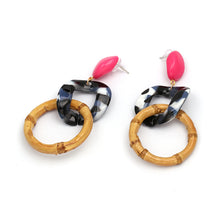Load image into Gallery viewer, Bamboo Colour Block drop Earrings