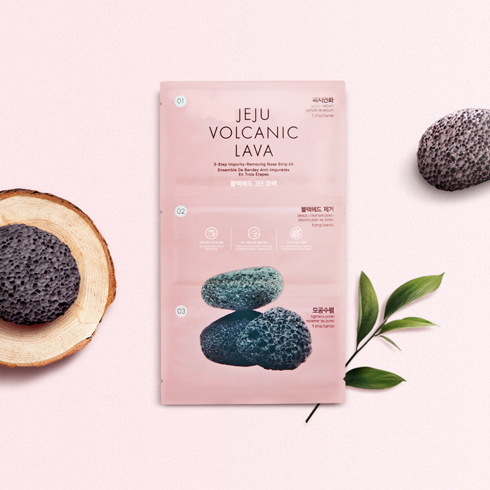 THEFACESHOP JEJU VOLCANIC LAVA 3STEP IMPURITY REMOVING NOSE STRIP KIT