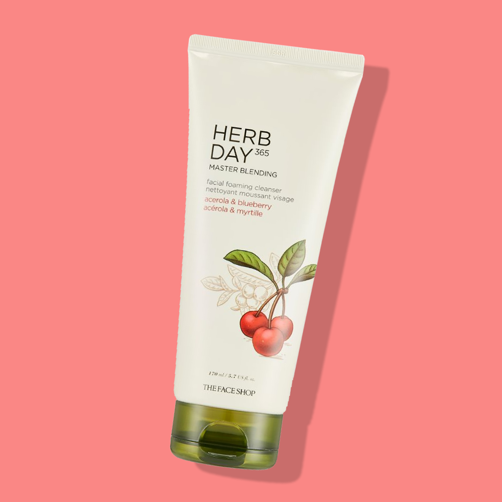 THEFACESHOP HERB DAY 365 MASTER BLENDING FACIAL FOAMING CLEANSER Acerola & Blueberry