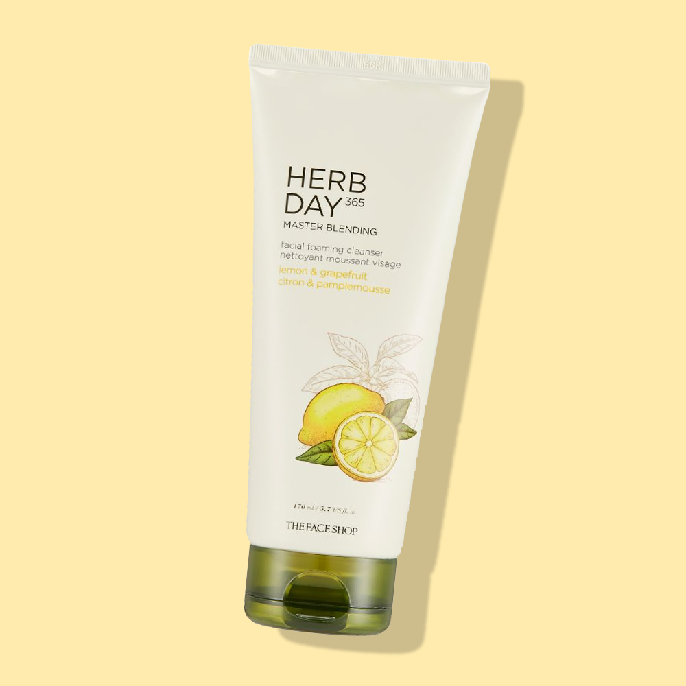 THEFACESHOP HERB DAY 365 MASTER BLENDING FACIAL FOAMING CLEANSER LEMON & GRAPEFRUIT