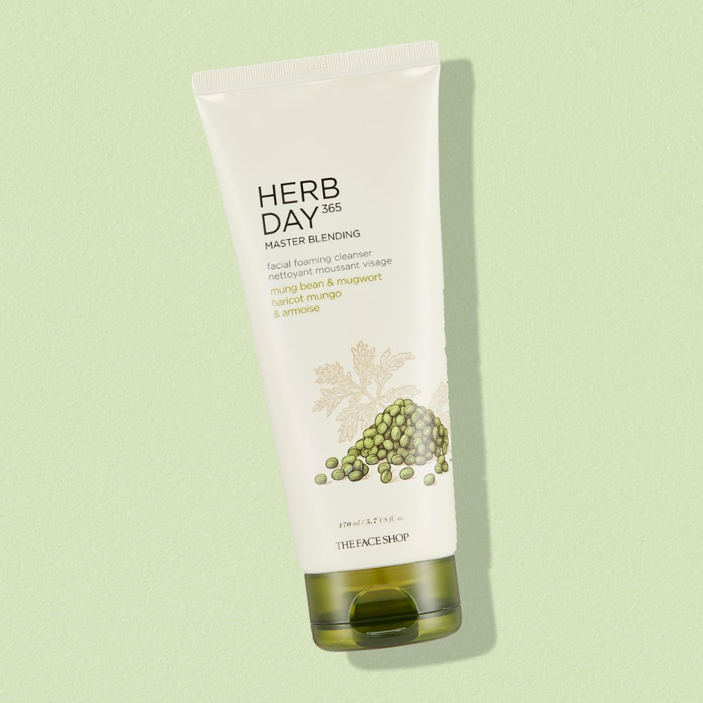 THEFACESHOP HERB DAY 365 MASTER BLENDING FACIAL FOAMING CLEANSER MUNGBEAN & MUGWORT