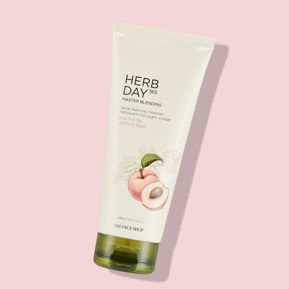 THEFACESHOP HERBDAY 365 MASTER BLENDING FACIAL FOAMING CLEANSER PEACH & FIG
