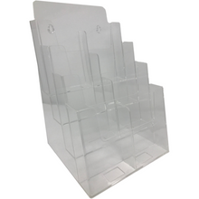 "Load image into Gallery viewer, Clear Acrylic 4-Tier 8.5"" x 11"" Tri-Fold Brochure Holder"