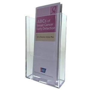 "Clear Acrylic 4"" x 9"" Brochure Holder Countertop and Wall Mount Display"