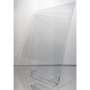"Acrylic 8"" x 10"" Slanted Sign Holder with Business Card Holder"