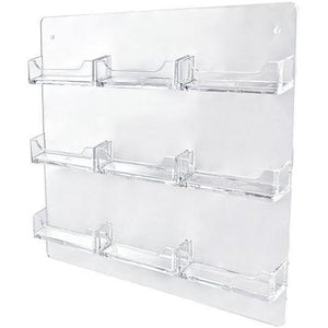 Clear Acrylic 9-Pocket Wall-Mount Business Card Holder