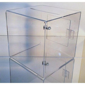 "11.25"" Sq. Clear Acrylic Donation Box with Cam Lock & 2 Keys"